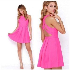 Lulus Hot Pink Dress Mini Sexy Cut Out Back